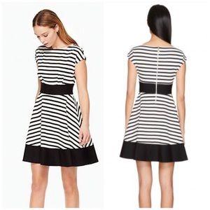 Kate Spade Ponte Stripe Fit & Flare Dress in Navy